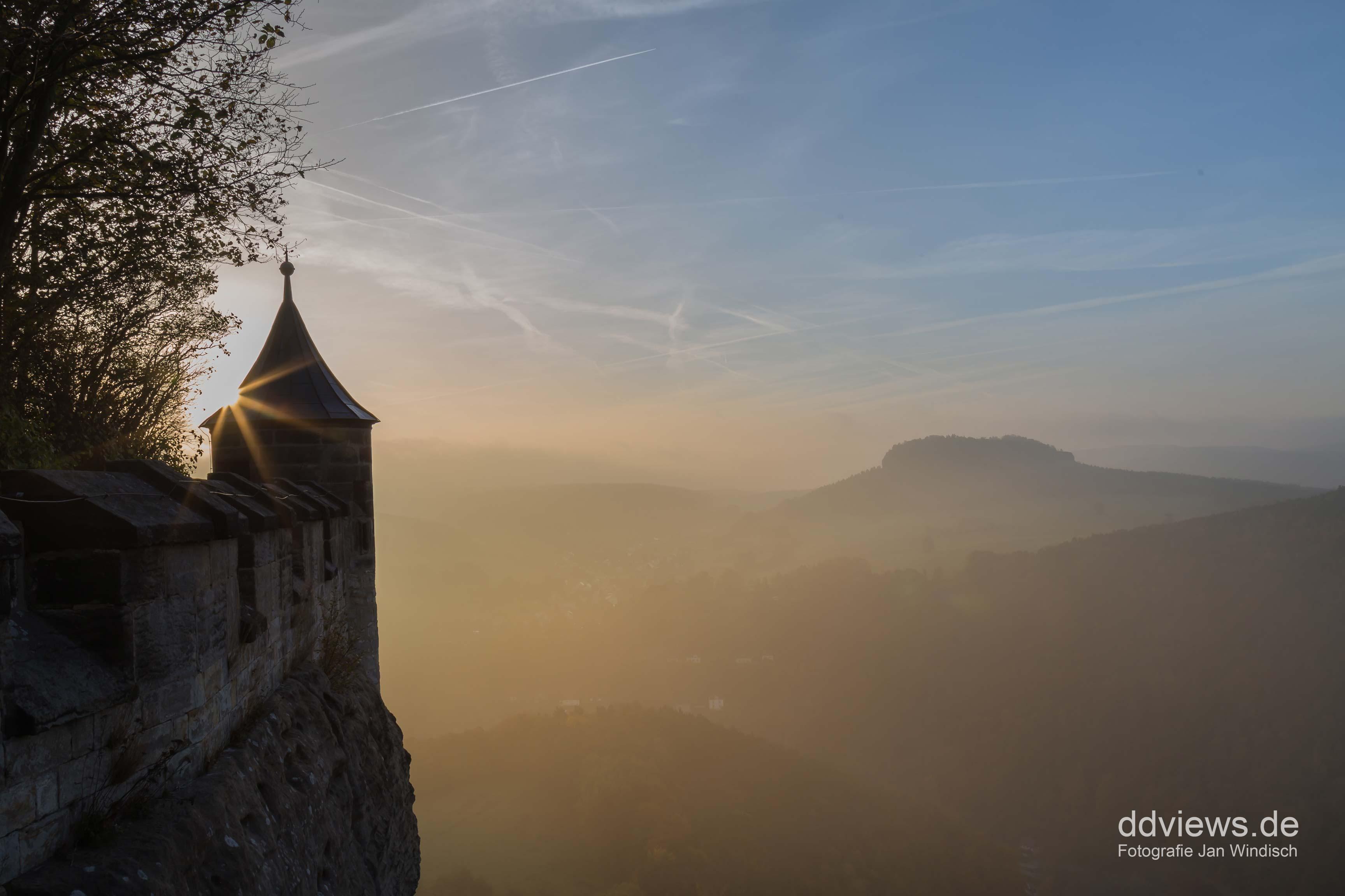 Festung Königstein im Sonnenaufgang
