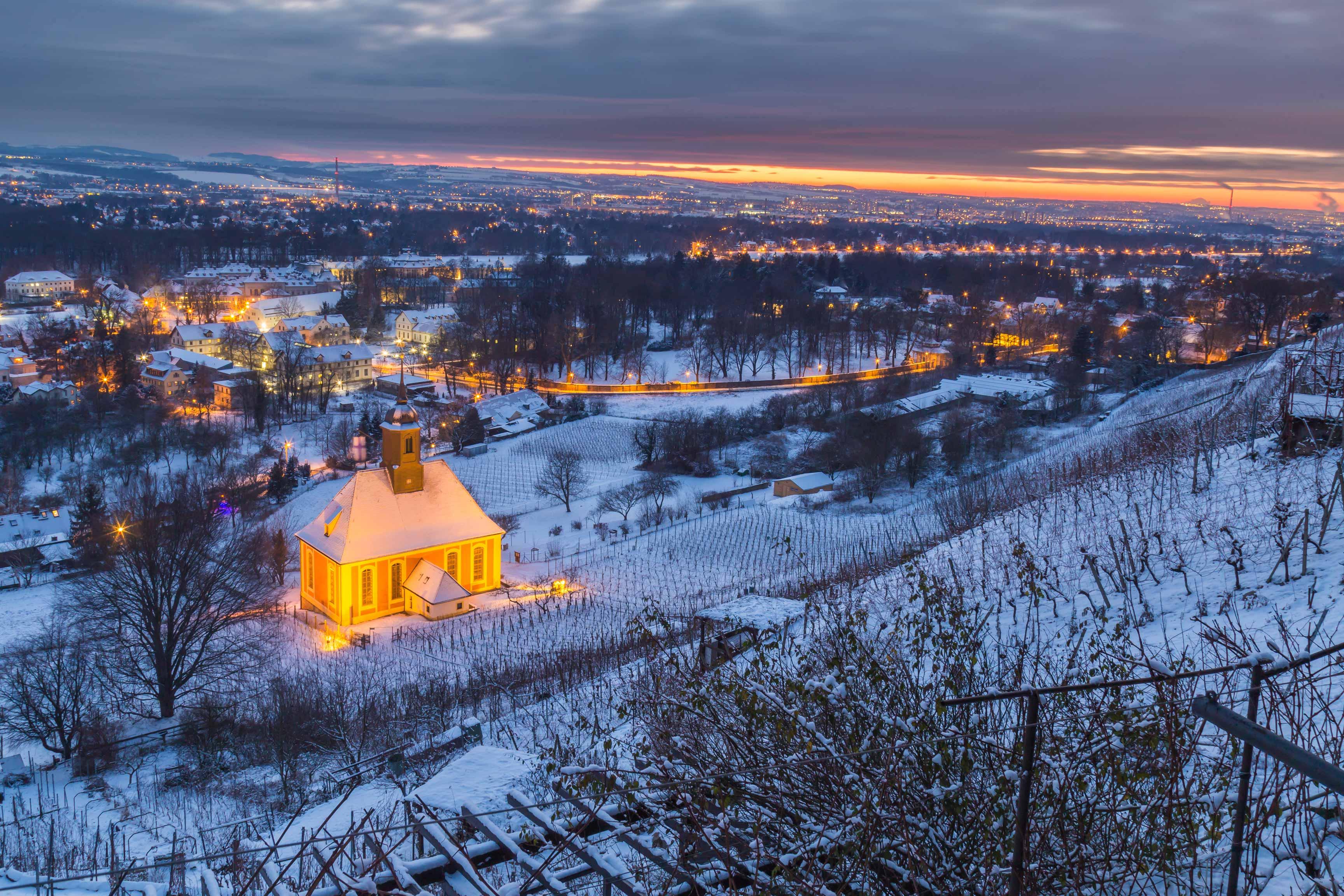 weinbergkirche pillnitz im winter