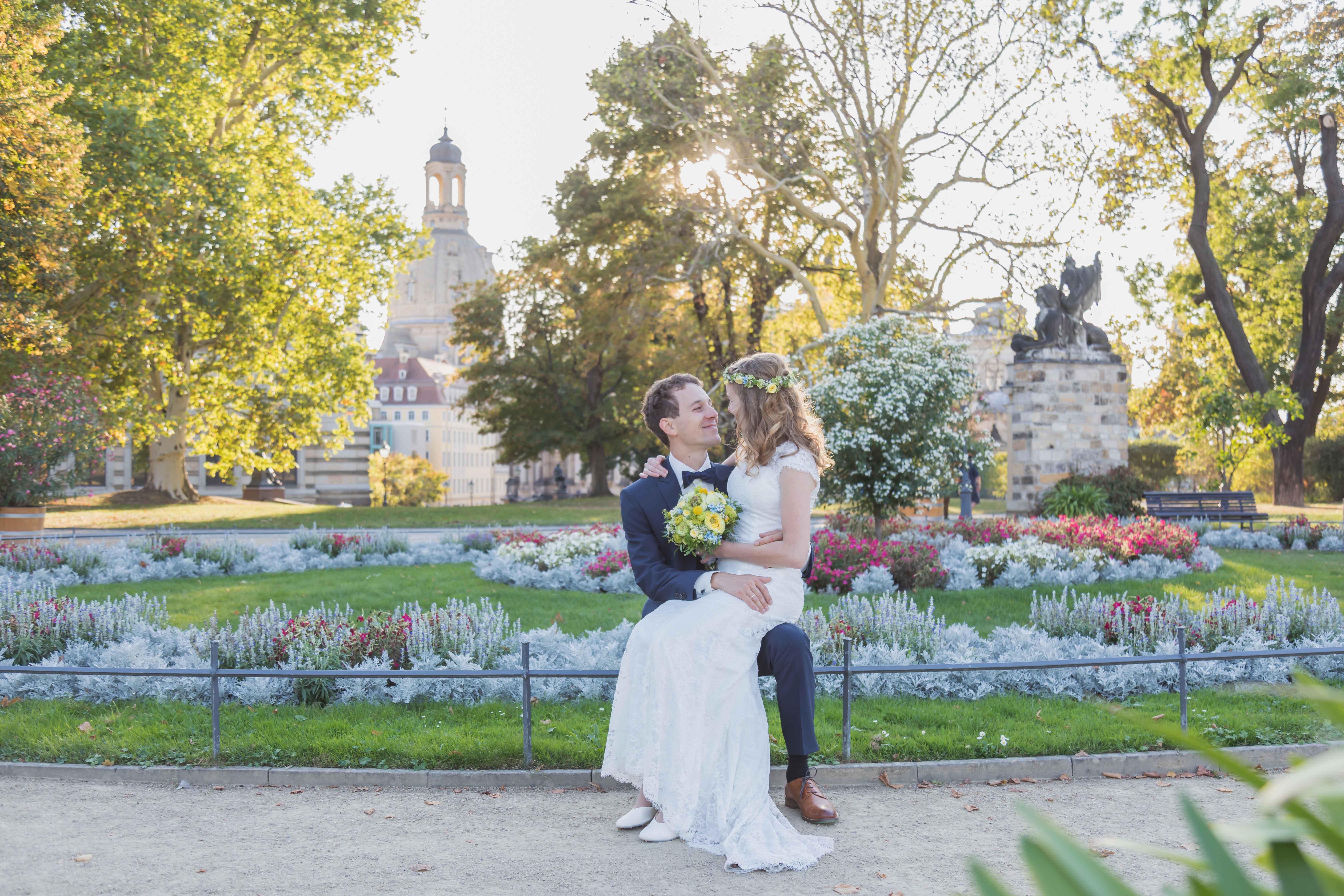 Hochzeits-Fotoshooting Brühlsche Terrasse Dresden