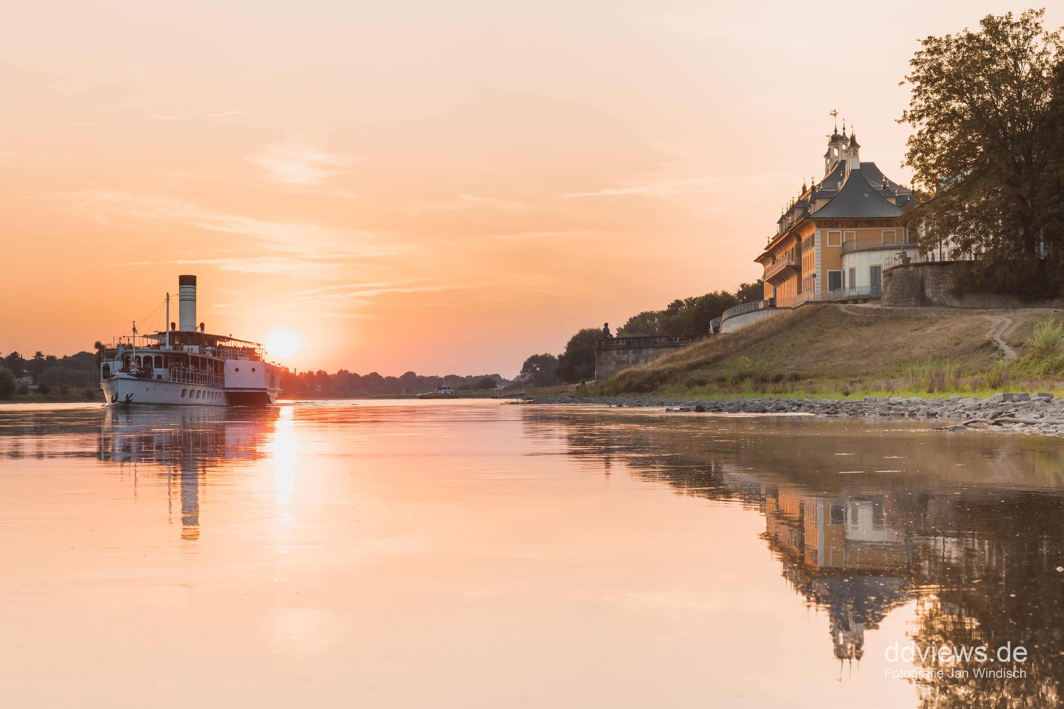 Schloss Pillnitz zum Sonnenuntergang