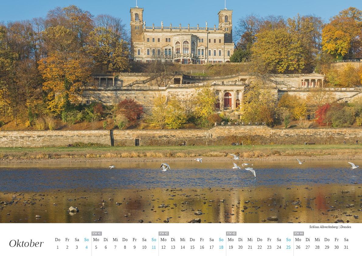 Wandkalender Dresden - Oktober