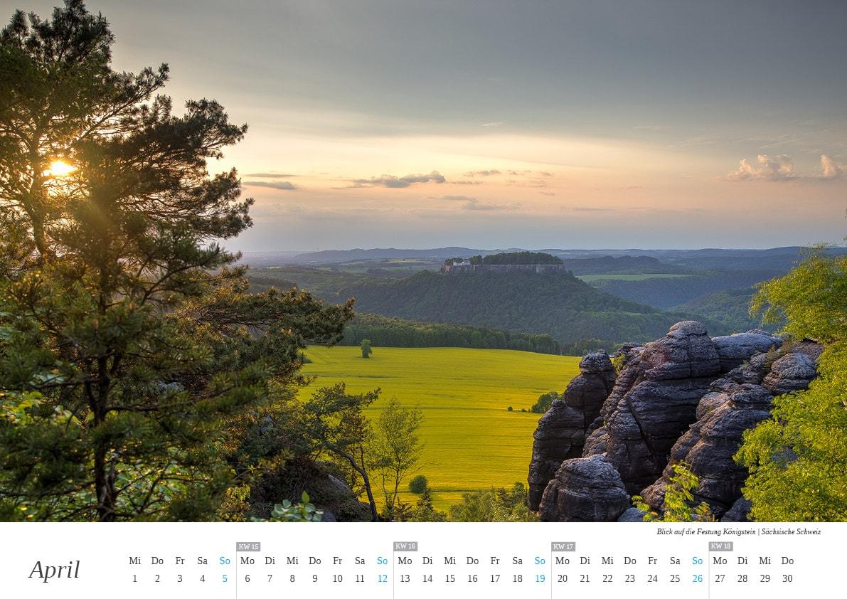 Wandkalender Sächsische Schweiz - April